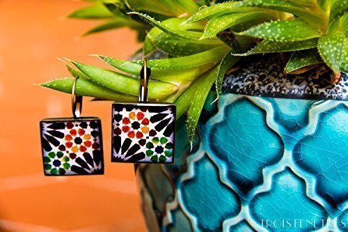 Alhambra earrings - Ecoresin and Mosaic Photography - Orange and Green Mosaic with Black Flower - Christmas gift for her - unique earrings