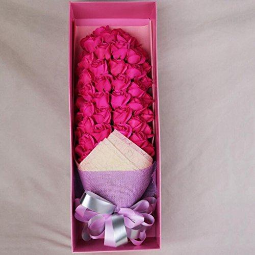 Aoligei 51 ätherisches Öl Rosen-Seifen-Blumen-Romantischer kreativer Valentinstag-Geschenk-Geschenk-Kasten 60 * 20 * 12cm