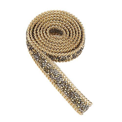 Strass-Gürtel, 1 Yard 0,8 Zoll zweizackigen Faux Strass Ribbon Diamond Blume Form Mesh Wrap Roll Crystal Ribbon Party Dekorationen Hängende Hochzeit Supplies(Gold)