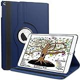 HBorna 360° Rotation Coque pour iPad 9.7 2018 / 2017 / Air2 / Air, étui Case Cover et la Fonction Sommeil/Réveil Automatique pour Apple iPad 9,7 pouces 2018 2017 / iPad Air 2 / iPad Air, Bleu Foncé