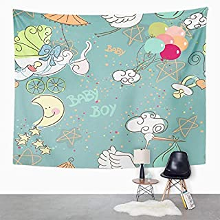 Eriesy Wall Tapestry Blue Whimsical Baby Boy Pattern Born Moon Star Announcement Celebration Day Tapestry Wall Hanging Home Decorations Mysterious for Bedroom Home 150x200cm