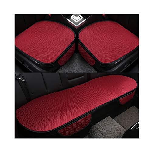 GUOCU Auto-Sitzkissen, Sommer-Auto-Sitz-Kissen-einzelne Auflage-EIS-Seide-Quadrat-Auflage Backless Universal Anti-Rutsch-freies, das Sitz-Kissen bindet,Rot,Vordersitz