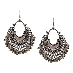 Aabhu Afghani Designer Vintage Oxidised German Silver Tribal Hoop Dangler Chandbali Earring Antique Jewellery for Girls & Women
