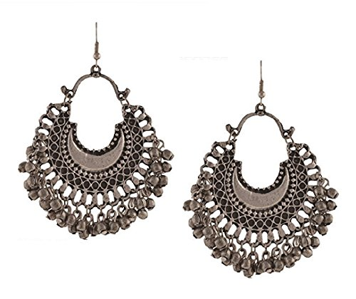 Aabhu Afghani Designer Vintage Oxidised German Silver Tribal Hoop Dangler Chandbali Earring Antique Jewellery for Girls & Women