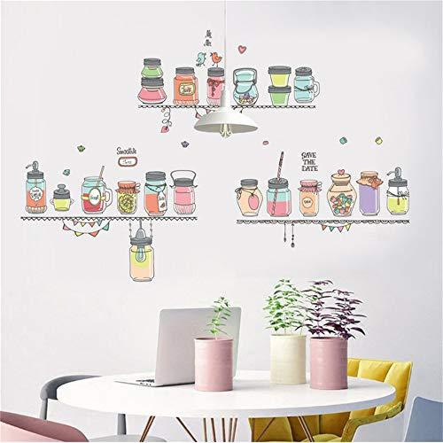 rant Wandaufkleber Bunte Smoothie Fruchtsaft Flasche Candy Jar Wandaufkleber Kreative Diy Vinyl Wohnkultur Aufkleber ()