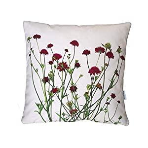Blumen Kissen, Knautia, dunkelrot, rot, 40×40 cm Hülle, Baumwolle und Leinen, Natur Motiv, Deko, Sofa, Garten