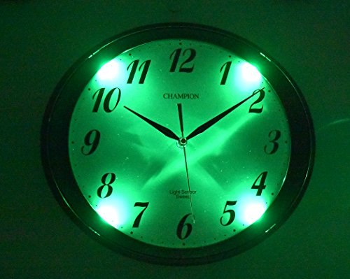 Champion Glow In The Dark Light Sensor Oval Silent Sweep Non Ticking Quartz  Wall Clock