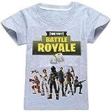EMILYLE Jungen Sport Fitness T-Shirt Fortnite Kinder Videospiele Fans Sommer Streetwear Battle PVP Multiplayer Kurzarm Top Rundhals Tees (120cm (6-7 Jahre Alt), Grau-2)