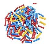 100 pcs. Terminales termorretráctiles Mixtos. Tubo de Manga de Soldadura a Prueba de Agua. Kit de Conectores aislados a Tope eléctricos - Rojo + Azul + Amarillo