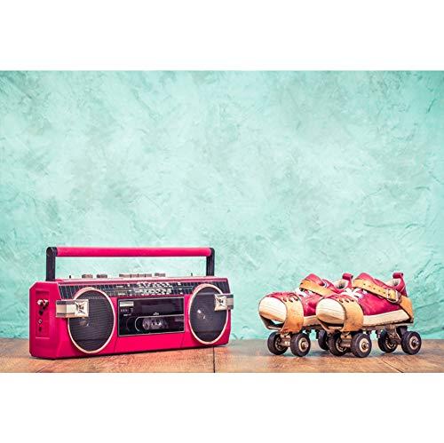 OERJU 3x2,5m Disko Party Hintergrund Rosa Radio-Kassettenrekorder und Rollschuhe Hintergrund Kostümparty Retro Disco Abschlussball Poster Fotografie Requisiten