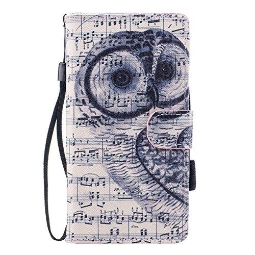 "MOONCASE iPhone 5/iPhone 5s/iPhone SE Coque, [Colorful Pattern] Wristbands avec Support Protection Étuis Case Card Holder Flip Cuir Housse pour iPhone 5s/iPhone SE 4.0"" Down Jacket Owl"