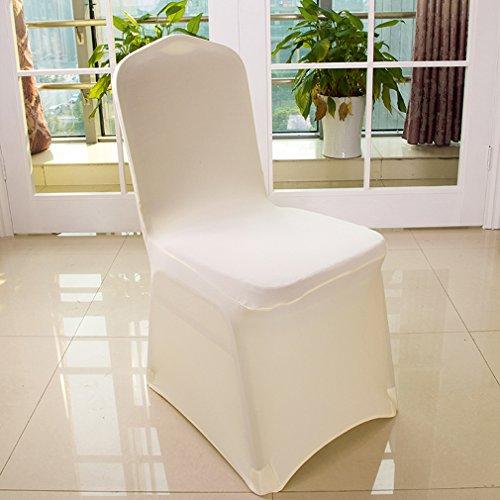 6er Auralum® 2 Jahre Garantie Elegant Elasthan Bügelfrei Stretchhusse Stuhlhusse Stuhlüberzug Husse (Weiss)