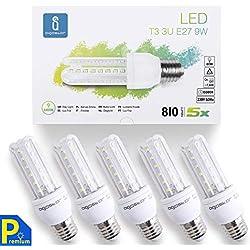 Aigostar - Ampoules LED B5 T3 3U E27 (Grosse Vis), 9W Consommés Équivalent 80W, Lumière blanche froide 6400K,Angle de 360°, 810 lumens. Pack de 5 unités avec boite [Classe énergétique A+]