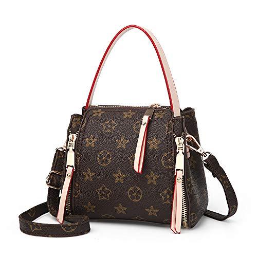 Ldyia Frauen Mini Eimer Tasche Handtaschen Eimer Tasche weibliche alte Blume Tasche Europa und den Vereinigten Staaten große Marke Druckhandtasche Reißverschluss Schulter kleine Tasche, beige -