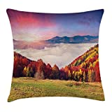 KAKICSA Nature Throw Pillow Cushion Cover, Pastoral Colorful Autumn Morning in The Majestic Mountains European Peaks Pri