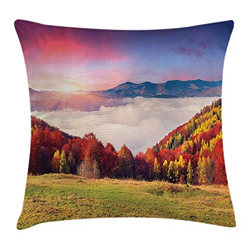 Nature Throw Pillow Cushion Cover, Pastoral Colorful Autumn Morning in The Majestic Mountains European Peaks Print Deco, Decorative Square Accent Pillow Case, 18 X 18 inches, Multi