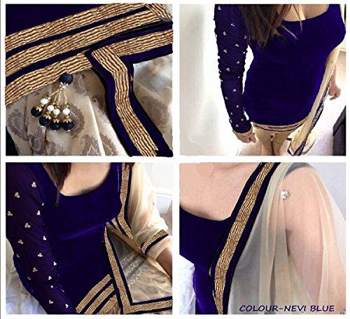 vaankosh fashion blue velvet designer partywear dress materials with dupattta