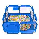 Bettgitter- Tragbares Sicherheits-Baby-Spielgerät mit Matten, Home Indoor Outdoor Rollschutz-Laufgitter für Babys und Kleinkindern, 68cm hoch (Farbe : Blau)