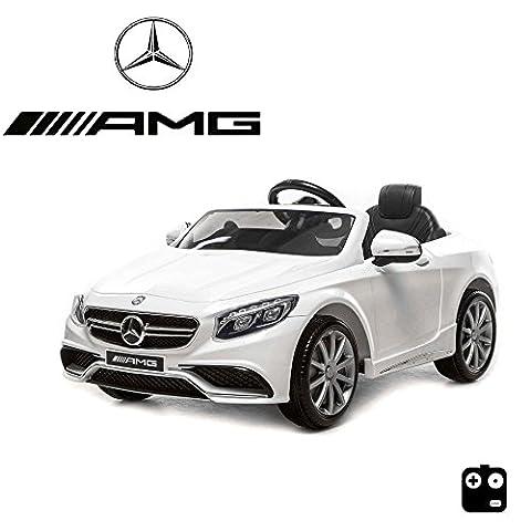 MERCEDES-BENZ S63 AMG Kinder Elektroauto Deluxe-Edition, 2.4GHz Fernbedienung, Multifunktionslenkrad, MP3-Anschluss, realistischen Soundeffekten, 12V Powerakku und 2x35W starker Motor, 2 Speed, und vieles mehr (Weiß)