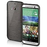 moex HTC One M8 | Hülle Silikon Schwarz Brushed Back-Cover TPU Schutzhülle Ultra-Slim Handyhülle für HTC One M8/M8s Case Dünn Silikonhülle Rückseite Tasche
