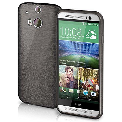 HTC One M8 Hülle Silikon Schwarz [OneFlow Brushed Back-Cover] TPU Schutzhülle Ultra-Slim Handyhülle für HTC One M8/M8s Case Dünn Silikonhülle Rückseite Tasche