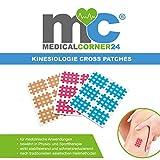 Medicalcorner24® Kinesiologie Gittertape 102 Stück, Cross-Patches, Cross Tape in versch. Größen und Farben, Beige, Blau, Pink