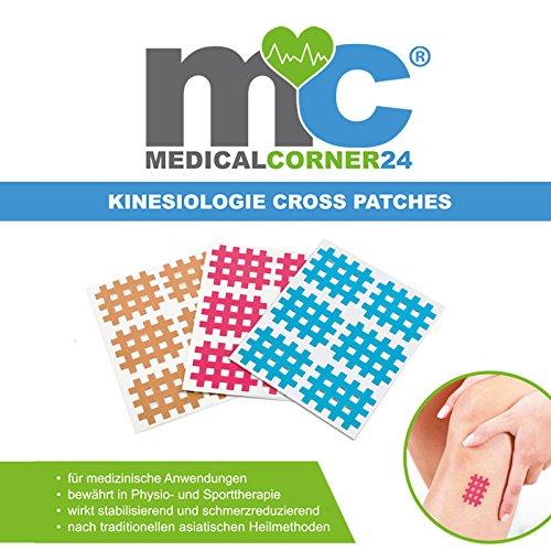 Medicalcorner24® Kinesiologie Gittertape 102 Stück, Cross-Patches, Cross Tape in versch. Größen und Farben, Beige, Blau, Pink (Cross Farbe)