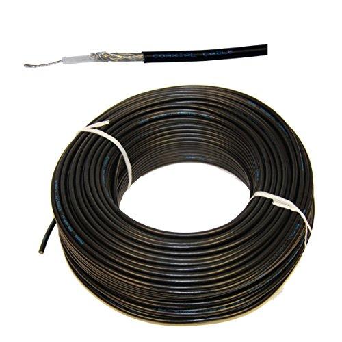 1 Meter flexibles RG-58 Koaxkabel Farbe schwarz - RG58 Koaxialkabel für UKW VHF Funk in Marinequalität für Boot Yacht Funkanlage Koaxialkabel RG58/U, 50 OHM 50O, UV-Beständig Preis je Meter -schwarz