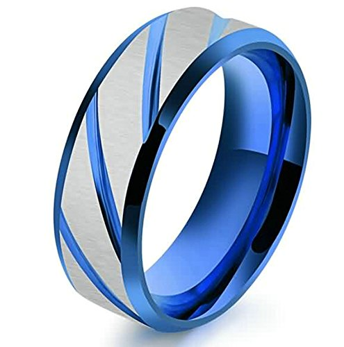 SonMo 7MM Ringe Herren Metall Ringe Edelstahl Männer Eheringe Trauringe Paarringe Verlobungsring Streifen Gravieren Herrenring Edelstahl Breit Blau Größe 60 (19.1)