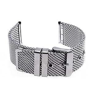FACILLA® 24mm Bracelet de Montre en Acier Maille Boucle Ardillon Watch Strap