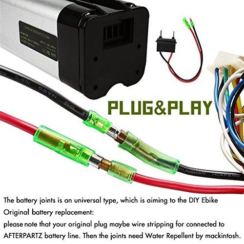 AFTERPARTZ® Fisch 36V 10.4Ah Elektrofahrrad Akku Umbausatz Lithium Batteriezelle E-BIKE Ersatzakku LI-Ionen mit Halterung und Ladegerät - 4