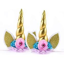 IEUUMLER Unicornio Cuerno Diadema con Flores Artificiales Accesorio de Pelo de Fiesta Diadema unicornio para Niñas TS002 (Gold)