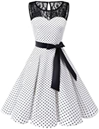 Bbonlinedress Vintage rétro 1950's Audrey Hepburn Robe de Soirée Cocktail sans manches avec dentelle année 50 Rockabilly