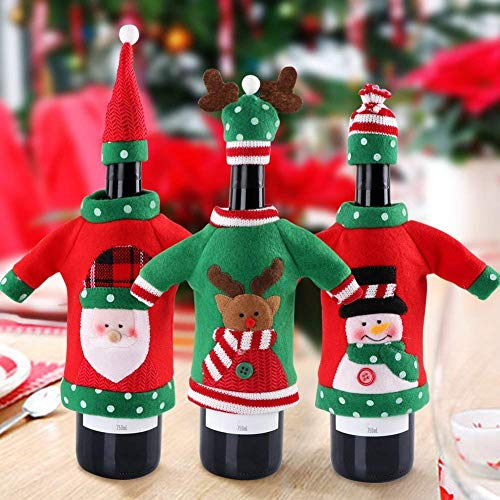 3pcs Ugly Christmas Sweater Wine Bottle Cover, Handmade Wine Bottle Sweater for Christmas Decorations Ugly Christmas Sweater Party ()