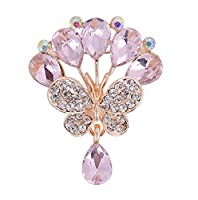 Cosanter Brooches Pins Elegant Hollow Noble Rhinestone Butterfly Designed Brooch for Wedding Pink