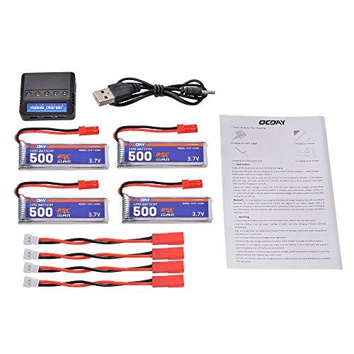 Preisvergleich Produktbild XCSOURCE® 5 in 1 4 Stück 3,7V 500mAh 25C LiPo Batterie Ladegerät für UDI U818A/U815A/U817 Syma S032G Wltoys V959/V929 RC391