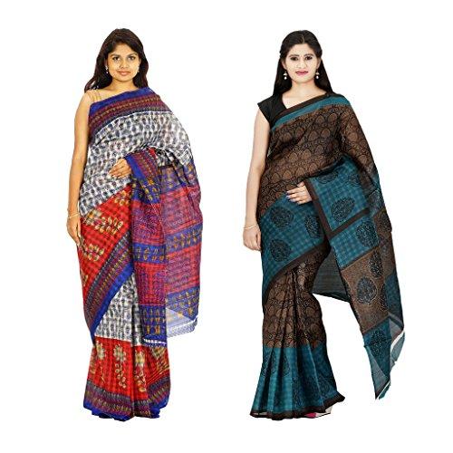 khaja Women's Cotton Multi Colour Checks & Chapa Slik Fashion Sarees Combo Of 2 (ID0001_ID0111)
