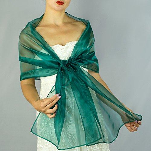Chal organza color verde turquesa azul pavo real novia