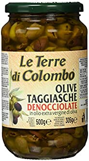 Le Terre di Colombo – Pitted Taggiasca Olives in Extra Virgin Olive Oil (36%), 500 g