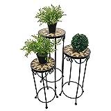 mosaico mesa taburete flor Juego de 3estantes–Mesa auxiliar, metal Estrella Redondo Alto