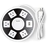 Outtek [2016 Upgraded] Power Strip, 15A/ 1650W Surge Protection Multi-Outlets With 6.5 Ft. Power Cord , 5 AC Plugs And 2 USB Power Ports For Home/Office Electrics, UL Listed (Black)