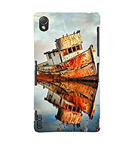 Omanm Small Ship Effect In Water Painted Designer Back Cover Case For Sony Xperia Z3