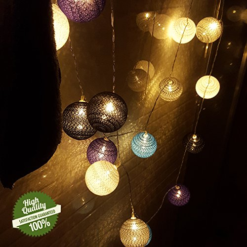 Baumwollkugeln, Chickwin Batterie Betrieben 6cm Kugeln Mit Deko Licht Festlich Hochzeiten Geburtstag Party Cotton Ball Themen Weihnachten Lichterkette Dekorative (Drak-Serie, 4.8m/ 30 Lichter) (Halloween-geburtstags-party-themen)