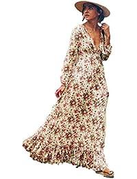 Robe Vintage Femme Grande Taille, Sunenjoy Robe Longue Fleur Profond V  Manche Longue Rétro Robe 1ee6cfebb285