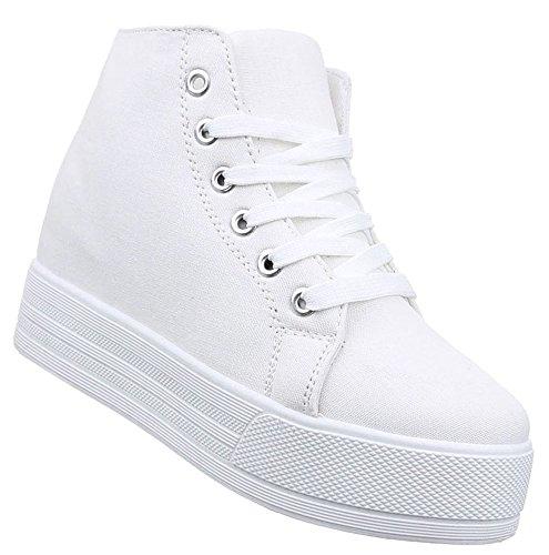 Damen Sneaker Schuhe Freizeitschuhe Keilabsatz Wedges Stiefelette High-Top  Halbschuhe schwarz weiss grau 36 37 8f50a18f6e