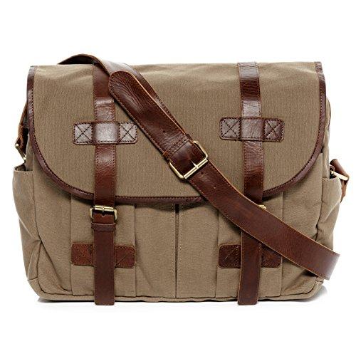 """SID & VAIN Messenger Bag Leder Chase groß Laptoptasche Unisex 15 Zoll Laptop Umhängetasche mit gepolstertem Gerätefach bis 15,4"""" beige"""