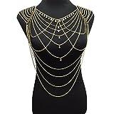 MJARTORIA Damen Körperkette Gold Farbe Bauchkette Basteln CZ Kristall Bikini Party Kette mit Perlen (Perlen)