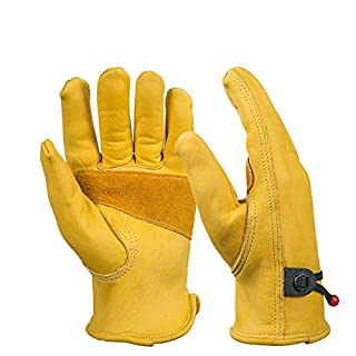 BearHoHo New Men's Full Leather Work Gloves with Ball and Tape Wrist Closure, Grain Cowhide1 Pair (XL)