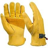 Bearhoho NEUF pour homme Entièrement en cuir Gants de travail avec boule et fermeture poignet de bandes, grain Cowhide1Paire, jaune