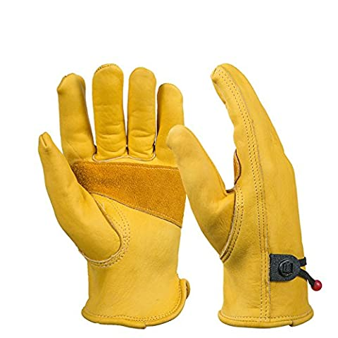 BearHoHo New Men's Full Leather Work Gloves with Ball and Tape Wrist Closure, Grain Cowhide1 Pair